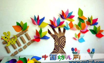 幼儿园墙壁设计:秋天的彩纸树