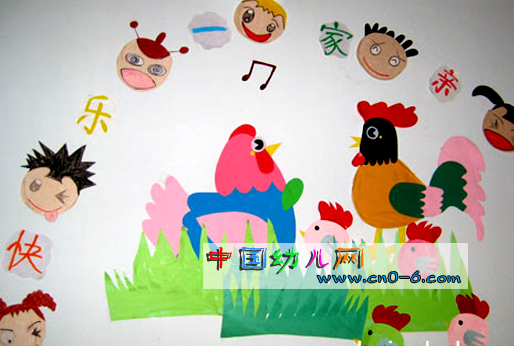 幼儿园墙体设计:快乐一家人-环境布置