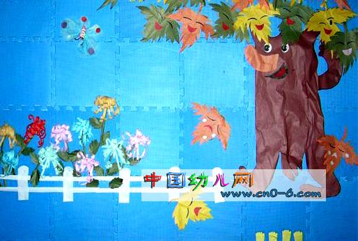 幼儿园墙体设计:片片落叶