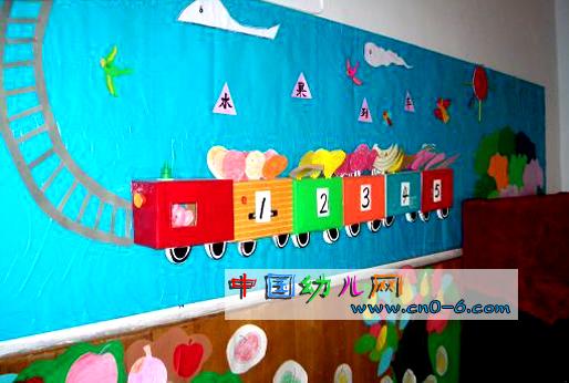 幼儿园墙体设计:小小火车