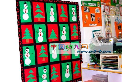 幼儿园墙面布置:冬天的雪人图片