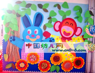 幼儿园墙面布置:小白兔的好朋友