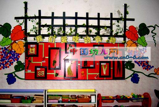 幼儿园墙面布置:我们爱吃的食物-环境布置