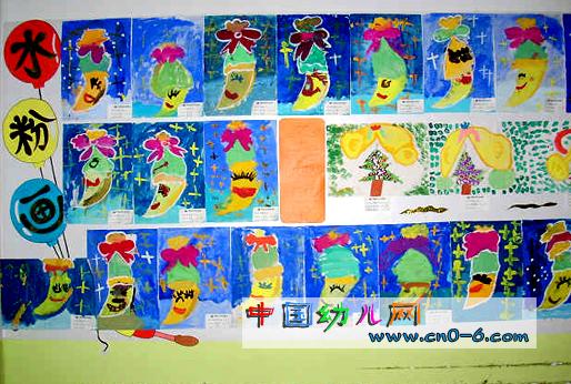 圣诞节幼儿园墙面布置:圣诞水粉画