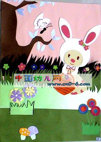 幼儿园墙面设计:采蘑菇的小白兔