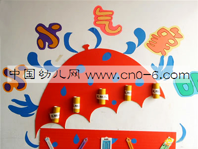儿园环保墙面布置:我飞到云彩下一个:幼儿园手工粘贴画:灯笼
