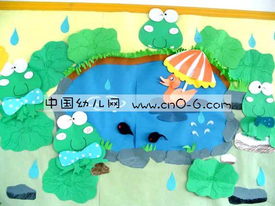 小青蛙和小鸭子的夏天——幼儿园夏天墙面布置