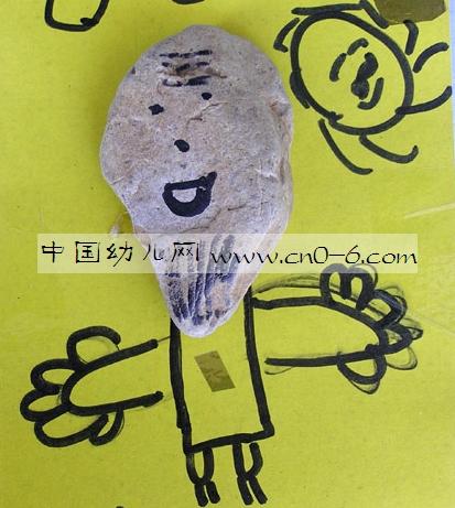 丁老头和和尚挑水——幼儿园小朋友的石头画