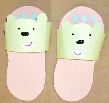 超可爱纸拖鞋一; 儿童手工拖鞋图片;