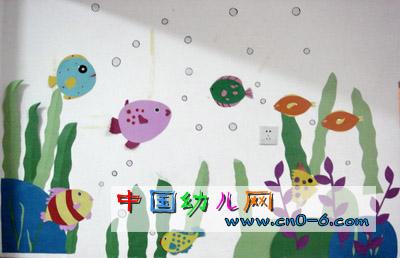 海藻上的鱼要回家(幼儿园墙面设计)