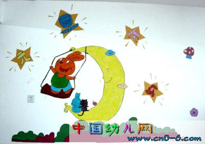 小兔兔和月亮的故事(幼儿园墙面设计)-环境布置