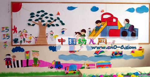 com, 幼儿园大班楼道布置:墙画  幼儿园墙面布置:美术欣赏线条  【图图片