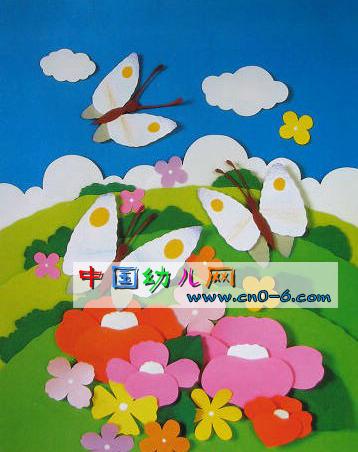 春天的花蝴蝶(幼儿园墙面布置)