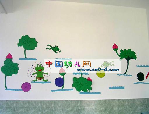 青蛙宝宝踏荷叶(幼儿园教室环境布置)