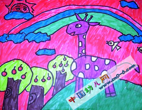 紫色鹿辛勤劳动(2010绿色劳动节幼儿园环境布置)
