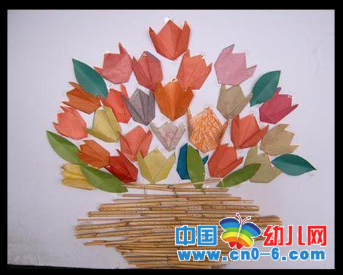 手工作品—纸花蒌(春季幼儿园环境布置)