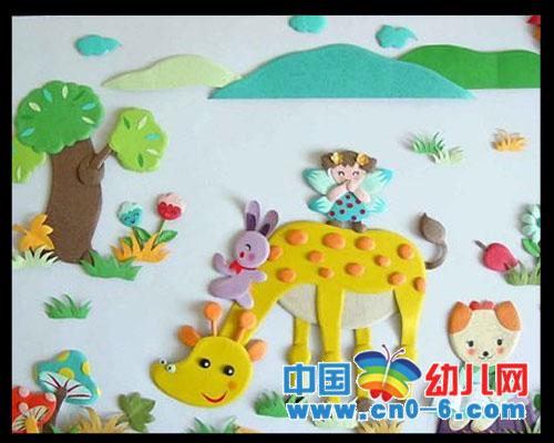 幼儿简笔画长颈鹿; 幼儿园春天环境装饰; 快乐的小动物(春季幼儿园