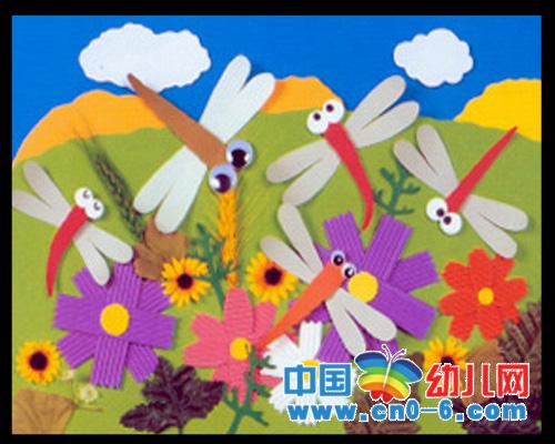 花丛中的蜻蜓(春季幼儿园环境布置)