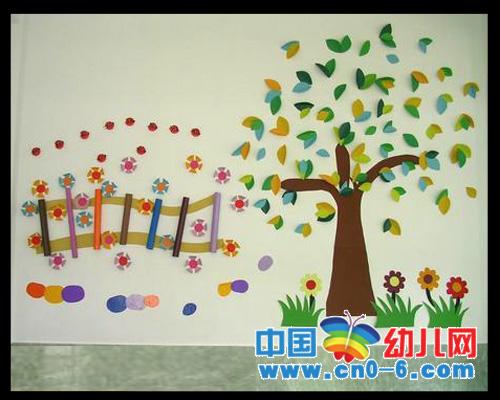 幼儿手工制品—纸树(夏季幼儿园环境布置)图片