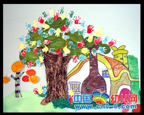 墙面布置; 幼儿园活动区布置33;; 幼儿园环境布置墙面:手掌树